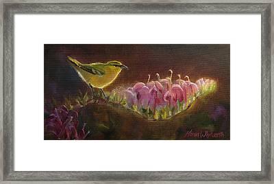 Amakihi And Kolii - Native Hawaiian Bird Framed Print by Karen Whitworth