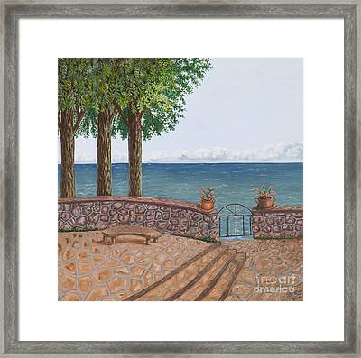 Amalfi Terrace Over Looking The Sea Framed Print by Stevie Stefano