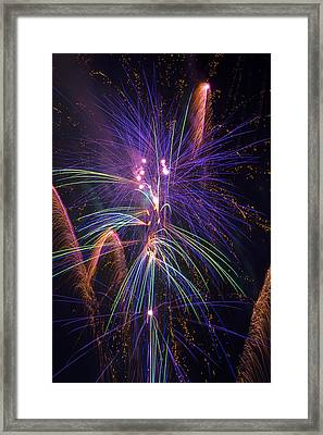 Amazing Beautiful Fireworks Framed Print by Garry Gay