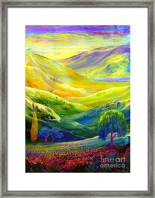 Wildflower Meadows, Amber Skies Framed Print by Jane Small