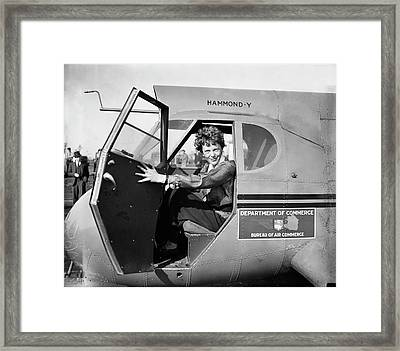 Amelia Earhart Framed Print by Library Of Congress
