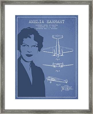 Amelia Earhart Lockheed Airplane Patent From 1934 - Light Blue Framed Print by Aged Pixel