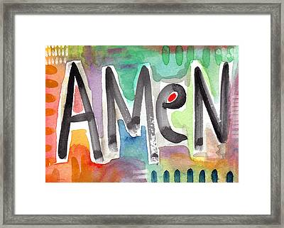 Amen Greeting Card Framed Print by Linda Woods