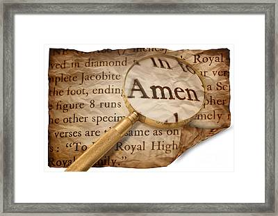 Amen Magnified Framed Print by Amanda Elwell