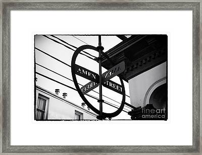 Amen Street Framed Print by John Rizzuto