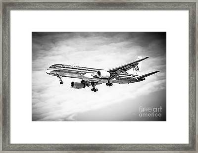 Amercian Airlines 757 Airplane In Black And White Framed Print by Paul Velgos