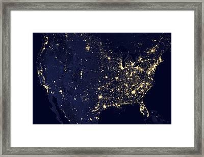 America At Night Framed Print by Adam Romanowicz