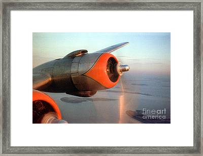 American Airlines Douglas Dc-6 Propellers In Flight Framed Print by Wernher Krutein