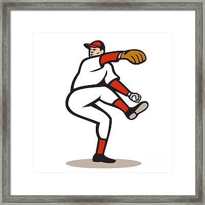 American Baseball Pitcher Throwing Ball Cartoon Framed Print by Aloysius Patrimonio