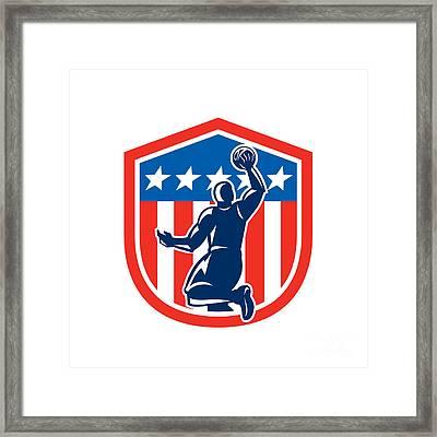 American Basketball Player Dunk Rear Shield Retro Framed Print by Aloysius Patrimonio