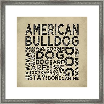 American Bulldog Typography Framed Print by Flo Karp