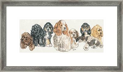 American Cocker Spaniel Puppies Framed Print by Barbara Keith