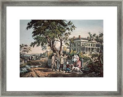 American Country Life  October Afternoon, 1855  Framed Print by Currier and Ives