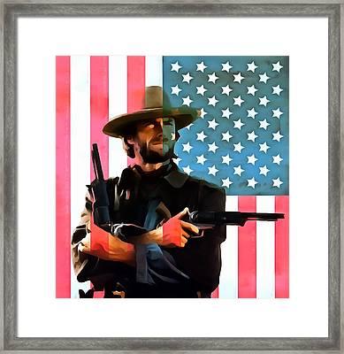 American Cowboy Clint Eastwood Framed Print by Dan Sproul