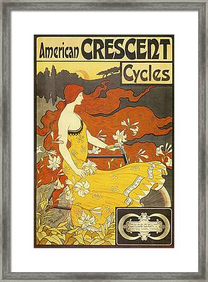 American Crescent Cycles 1899 Framed Print by Frederick Winthrop Ramsdell