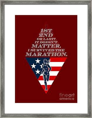 American Female Marathon Runner Retro Poster Framed Print by Aloysius Patrimonio