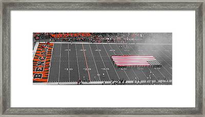 American Flag At Paul Brown Stadium Framed Print by Dan Sproul