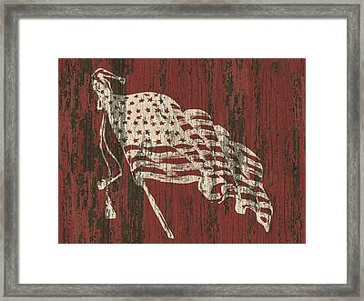 American Flag Barn Framed Print by Flo Karp