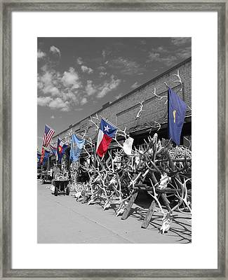 American Flag Colorado Flag Texas Flag And Antlers Framed Print by Dan Sproul