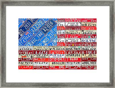 American Flag Recycled License Plate Art Framed Print by Design Turnpike