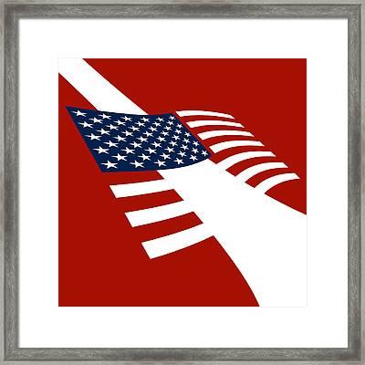 American Flag Scuba Flag Framed Print by Flo Karp