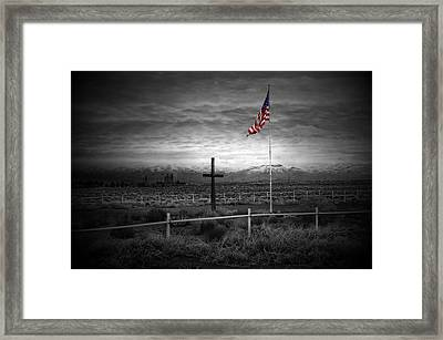 American Flag With Cross Framed Print by Scott McGuire
