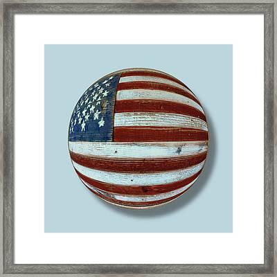 American Flag Wood Orb Framed Print by Tony Rubino
