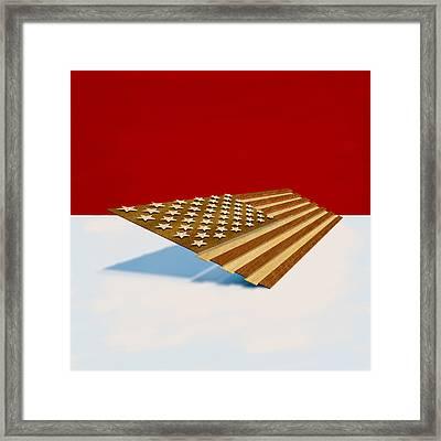 American Flag Wood Framed Print by Yo Pedro