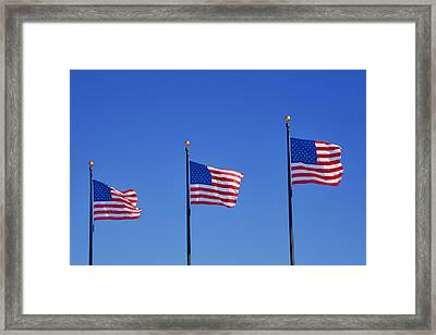 American Flags - Navy Pier Chicago Framed Print by Christine Till