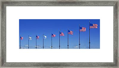 American Flags On Chicago's Famous Navy Pier Framed Print by Christine Till
