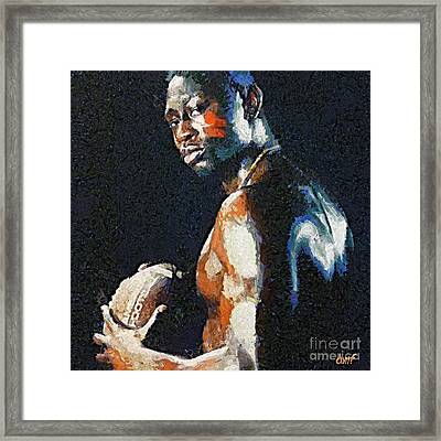 American Football Player Framed Print by Dragica  Micki Fortuna