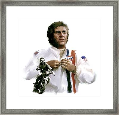 American Icon  Steve Mcqueen Framed Print by Iconic Images Art Gallery David Pucciarelli