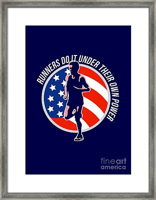 American Marathon Runner Running Power Retro Framed Print by Aloysius Patrimonio