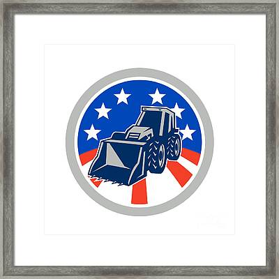 American Mechanical Digger Excavator Circle Framed Print by Aloysius Patrimonio