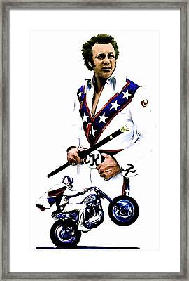 American Roulette V  Evel Knievel Framed Print by Iconic Images Art Gallery David Pucciarelli