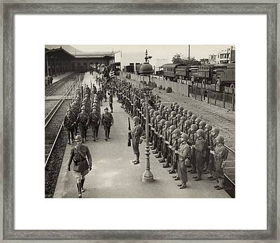 American Soldiers Present Arms Framed Print by Everett