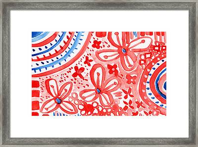 Americana Celebration- Painting Framed Print by Linda Woods