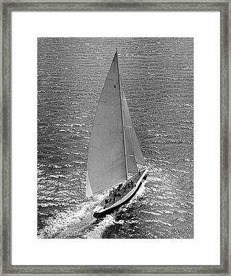 America's Cup Rainbow Yacht Framed Print by Underwood Archives