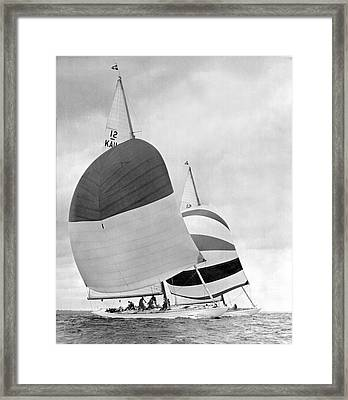 America's Cup Sailboats Framed Print by Underwood Archives