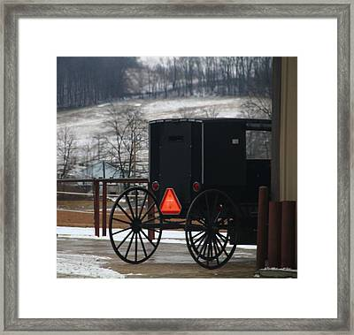 Amish Buggy In Winter Framed Print by Dan Sproul