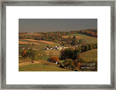 Amish Farm In An Ohio Valley In The Fall Framed Print by Ron Sanford
