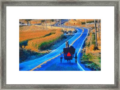 Amish Horse And Buggy In Autumn Framed Print by Dan Sproul