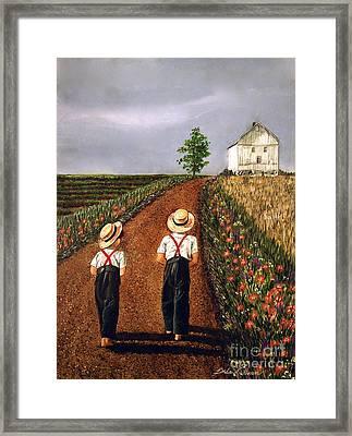 Amish Road Framed Print by Linda Simon