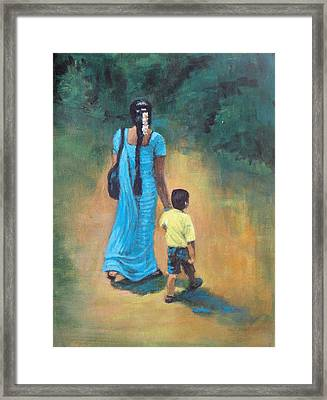 Amma's Grip Leads. Framed Print by Usha Shantharam