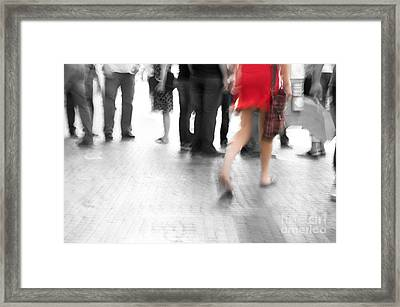 Among Black And White Big City Rush Framed Print by Michal Bednarek