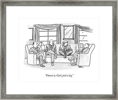 Among Three Other Men With Their Legs Crossed Framed Print by Julian Rowe