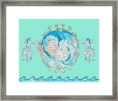 Amor In Aqua Framed Print by John Keaton