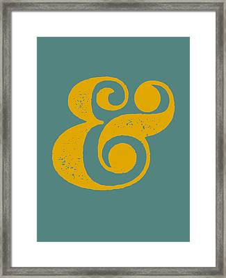 Ampersand Poster Blue And Yellow Framed Print by Naxart Studio