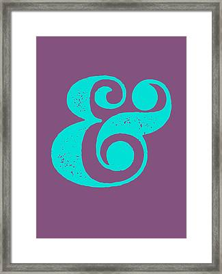 Ampersand Poster Purple And Blue Framed Print by Naxart Studio