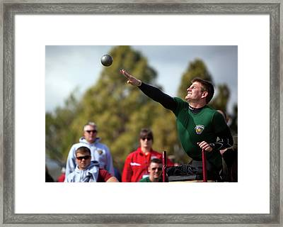 Amputee Shot Put Athlete Framed Print by Us Air Force/mark Fayloga
